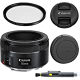 Canon EF 50mm f/1.8 STM: Lens with Glass UV Filter, Front and Rear Lens Caps, and Deluxe Cleaning Pen, Lens Accessory Bundle
