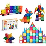 STEAM Studio Magnetic Tiles 120pcs Set Including Two Cars, Secured with Rivets, Clear Colours Building Blocks, Building & Con