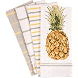 KAF Home Pantry Kitchen Dish Towel Set of 4, 100-Percent Cotton, 18 x 28-inch, Pineapple Print, Assorted, 18 x 28-Inch