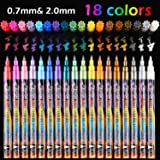 18 Colors Metallic Marker Pens, 0.7 mm Extra Fine Point Paint Pen, Metallic Painting Pens, Metallic Permanent Markers for Car