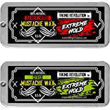 Mustache Wax 2 Pack - Extreme Hold Beard & Moustache Wax for Men - Strong Hold Helps Train Tame & Style - Citrus & Sandalwood