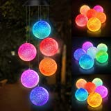 Colour Changing Solar Power Wind Chime Spiral Spinner Crystal Ball Wind Mobile Portable Waterproof Outdoor Decorative Romanti