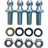"(4 Pack) 10mm Ball Studs With Hardware - 5/16-18 Thread x 3/4"" Long Shank - Gas Lift Support Strut Fitting 10mm Ball Stud, 3/"