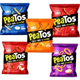 Peatos Crunchy Puffs Snacks, Party Mix Variety Pack, 1 Ounce (15 Count), Junk Food Taste, Made from Peas, Bold Flavors, 4g Pr