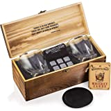Whiskey Stones Gift Set for Men | Whiskey Glass and Stones Set with Wooden Box, 8 Granite Whiskey Rocks Chilling Stones and 1