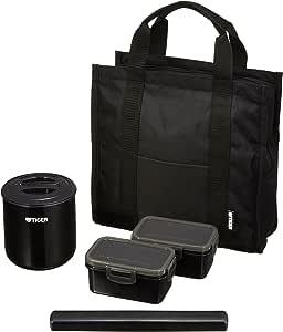 タイガー 魔法瓶 保温 弁当箱 ステンレス ランチ ジャー 茶碗約 1.8 杯分 トートバッグ付き ブラック LWY-T036-K Tiger