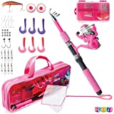 Play22 Kids Fishing Pole Pink - 40 Set Kids Fishing Rod and Reel Combos - Fishing Poles for Youth Kids Includes Fishing Tackl