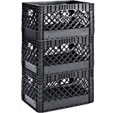 (1 X 3 Pack) - Muscle Rack PMK22.7lB-3 22.7l 3 Pack Black Heavy Duty Rectangular Stackable Dairy Milk Crates, 28cm Height, 48
