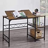 Hombazaar Home Office Desk, Industrial Computer Desk with Storage Shelf, Large Writing Drawing Desk Craft Workstation with Ti