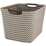 Household Essentials 661-1 Medium Tapered Fabric Storage Bin with Wood Handles Brown Chevron