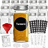 Talented Kitchen 14 Glass Spice Jars w/2 Types of Preprinted Spice Labels. Commercial Grade, Complete Set: 14 Square Empty Ja