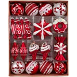 Valery Madelyn 60ct Sweet Candy Shatterproof Christmas Ball Ornaments Decoration, Red and White, 1.18inch-4.72inch,Themed wit