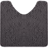 EFORPAD Curved U-Shaped Toilet Bathroom Rugs, Chenille Non Slip Contoured Bath Mat Soft Absorbent Machine Washable Carpet for