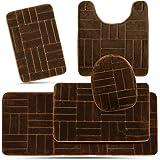 Effiliv 5 Piece Bathroom Rugs Set Brown/Line Design