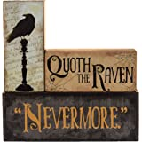 """Halloween Decoration - Quoth The Raven""""Nevermore"""" Stacking Block 3 Piece Set"""
