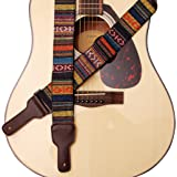 Music First Original Design Classic Country Style Soft Cotton & Genuine Leather Guitar Strap Banjo Strap