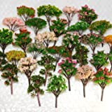 NW 25pcs Mixed Model Trees Model Train Scenery Architecture Trees Model Scenery with No Stands(0.79-2.36inch) (Colorful)