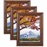 Langdon House 5x7 Picture Frames (Cherry Stained, 3 Pack), Solid Wood 5 x 7 Traditional Photo Frames with Wall Mount Hooks an