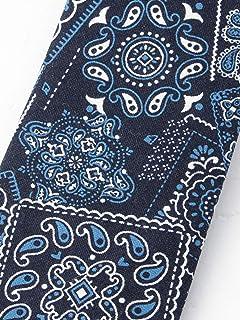 Cotton Bandana Print Tie 118-25-0186: Navy