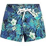 SSLR Women's Print Tropical Drawstring Casual Hawaiian Beach Board Shorts