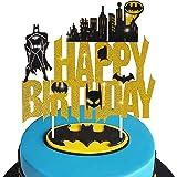 Batman Happy Birthday Cake Topper for Batman Theme Birthday Party Glitter Decoration Supplies for Kids Birthday Super Hero Su