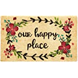 DII Fun Greetings Home Décor Indoor/Outdoor Natural Coir Fiber Doormat, 18x30, Our Happy Place