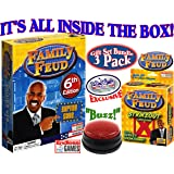 Endless Games Family Feud 6th Edition Set Bundle Includes Strikeout Card Game, Electronic Red 3-Mode Game Answer Buzzer and C