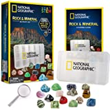 NATIONAL GEOGRAPHIC Rocks and Minerals Education Set – 15-Piece Rock Collection Starter Kit with Tiger's Eye, Rose Quartz, Re