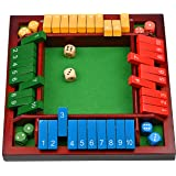 Coogam Shut The Box Dice Game Wooden Board Math Number Game Family Pub Bar 1-4 Players with 10 Colored Dice for Adults Kids 3