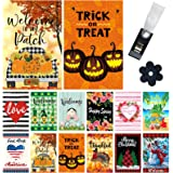 Yileqi Holiday and Seasonal Garden Flags Set 8 Pack Double Sided Yard Flags with Zipper Storage Bag, Christmas Thanksgiving G