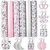 "David accessories Flamingo Floral Printed Faux Leather Fabric Sheets Vivid Pearl Light Solid Color 6 Pcs 7.8"" x 13.3"" (20 cm"