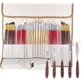Paint Brush & Pallet Knife Set - 38 Piece Set of Professional Quality Synthetic and Natural Hair Brushes & 5 Artist Pallet Kn