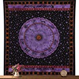 Zodiac Tapestry Wall Hanging Horoscope Tapestry Indian Astrology Queen Size 84X90, Zodiac Bedspread, Cotton Bedspread, Picnic