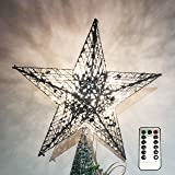 NIGHT-GRING 12.2 inch Christmas Tree Topper LED Star Treetop Decoration Christmas Decorations Silver