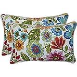"""Pillow Perfect Outdoor Pillow, 620619, 100% T-Spun Polyester, Blue, 18.5"""" x 11.5"""" x 5"""""""