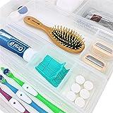 Wowganiser Drawer Organizer for Makeup Bathroom Vanity Storage, 12 Adjustable Dividers, Clear Plastic, Set of 4 Trays (2 Big