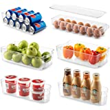 Set of 6 Refrigerator Organizer Bins - Stackable Fridge Organizers for Freezer, Kitchen, Countertops, Cabinets - Clear Plasti
