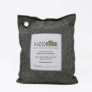 MosoNatural Bag・モソバッグ 200g 2年間消臭 夏にも最適 調湿機能 モソナチュラル 日本食品分析センターが認めた 99.9%消臭 空気清浄バッグ 最高級竹炭使用 麻生地 調湿 有害な汚染物質やアレルギー源除去に(Charcoal)
