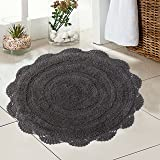 Chardin Home - 100% Pure Cotton - Crochet Round Bath Rug, 24'' Inch Round with Latex Spray Non-Skid Backing, Griffin Gray