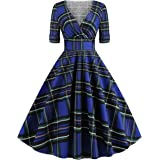 Wellwits Women's Foldover Sleeves Wrap Plaid Check 1950s Vintage Dress