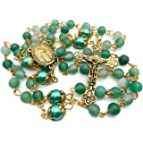 Nazareth Store Catholic Matte Stone Beads Gold Rosary Necklace Green Pearl Round Beads Miraculous Medal & Cross