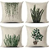 (Green Plants) - Set of 4 Green Plant Throw Pillow Covers Decorative Cotton Line Outdoor Cushion Cover Sofa Home Pillow Cover