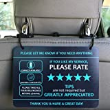 "Nebudo compatible with Lyft Uber Rating Tips Appreciated Rideshare Accessories (Pack of 2) - 7"" x 5"" - Interior Thick PVC Hea"