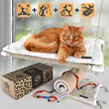 Cat Window Bed - Free Fleece Blanket and Toy – Extra Large and Sturdy – Holds Two Large Cats – Easy to Assemble!