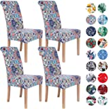 Colorxy Stretch Dining Room Chair Cover Spandex Removable Washable Floral Printing Chair Slipcover for Kitchen Living Room, P