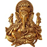 Charmy Crafts Metal Ganesha for Home Decor Wall Decor (Golden, 11 Inches Height) (Big)