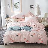 FenDie Fruits Pattern Cotton Girls Duvet Cover Set Pink Reversible Grid Bedding Set Twin Kids Peach Printed Quilt Duvet Cover