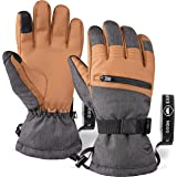 The Slugger Ski & Snowboard Glove - Waterproof Gloves with Synthetic Leather Shell Construction & Waterproof Zipper Pocket -