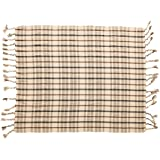 Bloomingville Woven Recycled Cotton Blend Plaid Tassels, Charcoal Color & Brown Throw, Charcoal & Brown