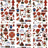 Firefighter Temporary Tattoos | 152 Tattoos on 8 Sheets | For Party Favors | Fire Fighter Party Supplies | Fire Man Birthday